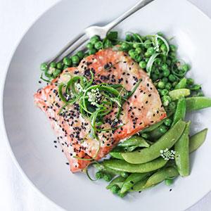 Recipe: Miso Salmon and Peas